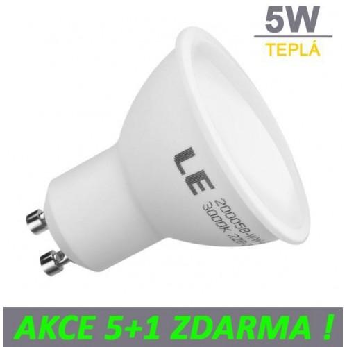 LED žárovka 5W GU10 380lm TEPLÁ, 5+1 ZDARMA