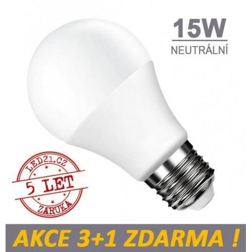 LED žárovka E27 15W SMD2835 1320 lm CCD NEUTRÁLNÍ, 3+1 Zdarma