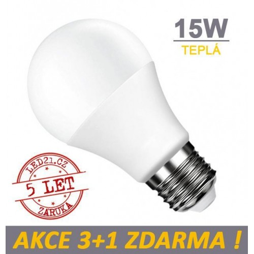 LED žárovka E27 15W SMD2835 1320 lm CCD TEPLÁ, 3+1 Zdarma