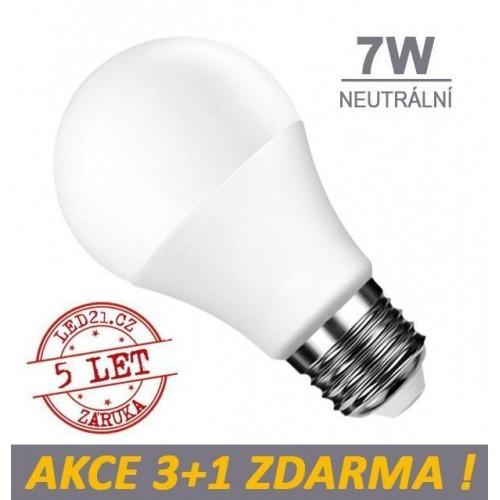 LED žárovka 7W 560lm E27 NEUTRÁLNÍ, 3+1 ZDARMA