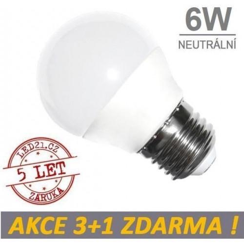 LED žárovka 6W 480lm E27 NEUTRÁLNÍ, 3+1 ZDARMA