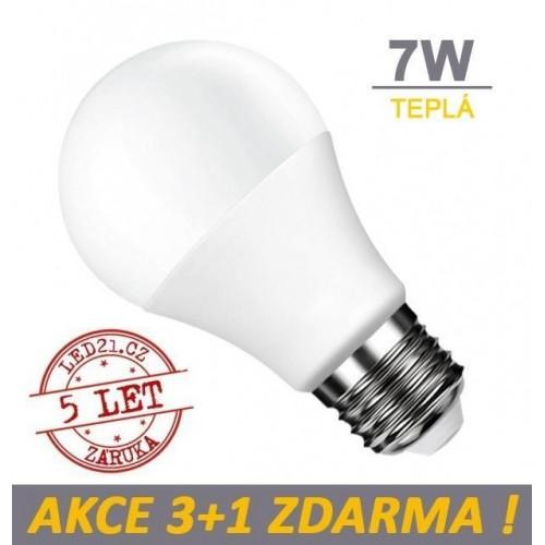 LED žárovka 7W 560lm E27 TEPLÁ, 3+1 ZDARMA