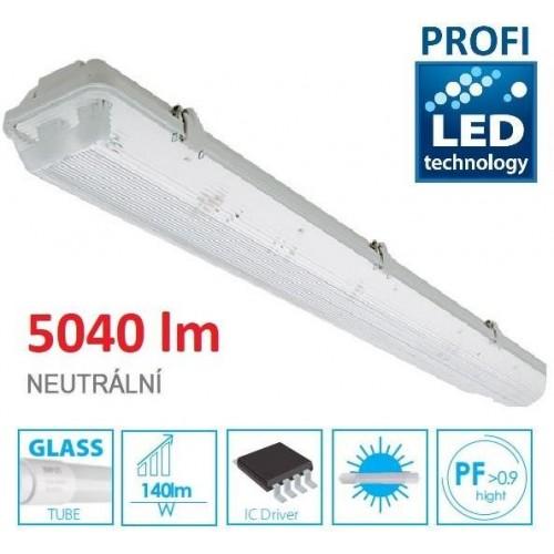 KOMPLET PROFI Prachotěsné svítidlo +2 LED trubice T8 36W 5040lm 120cm NEUTRÁLNÍ