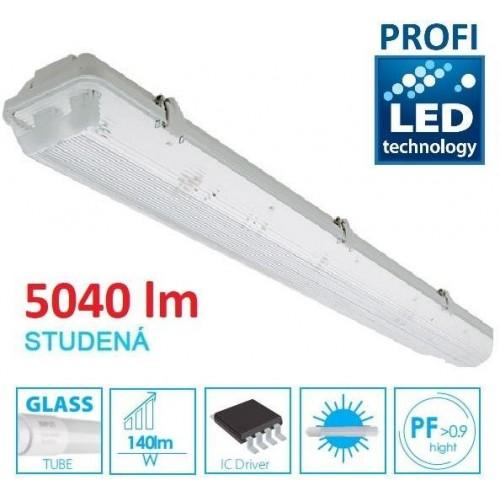 KOMPLET PROFI Prachotěsné svítidlo +2 LED trubice T8 36W 5040lm 120cm STUDENÁ