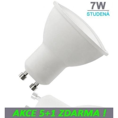 LED žárovka 7W GU10 500lm STUDENÁ, 5+1 ZDARMA