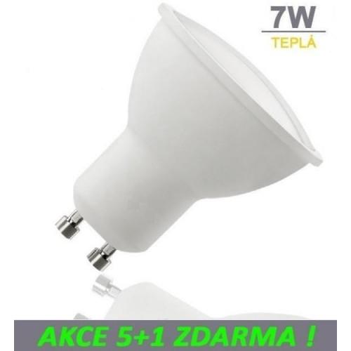 LED žárovka 7W GU10 500lm TEPLÁ, 5+1 ZDARMA