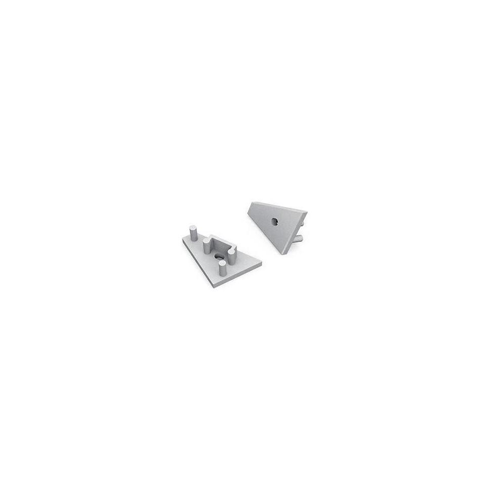 Krytka koncová PRAVÁ s otvorem pro profil CORNER10, stříbrná