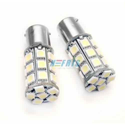 LED auto žárovka 24V BA15S 27 SMD 5050 P21W
