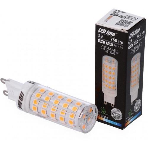 LED žárovka 8W 64xSMD2835 G9 750lm TEPLÁ BÍLÁ
