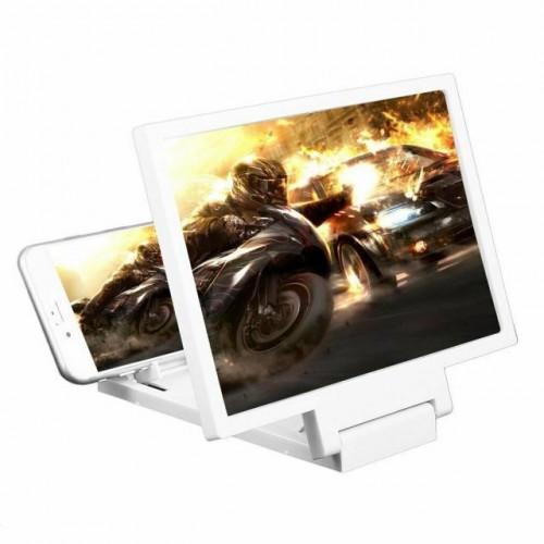 """3D Zvětšovací sklo 8"""" obrazovky mobilního telefonu. Barva bílá."""