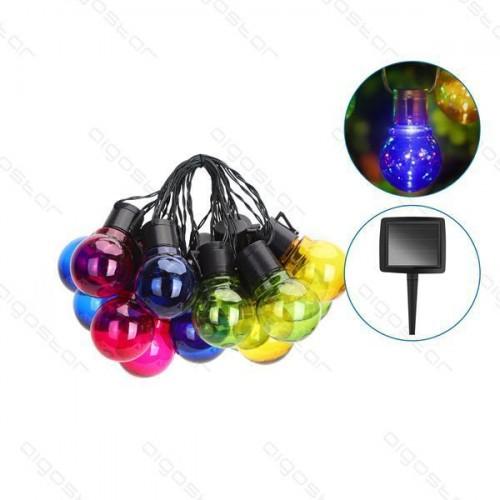 LED světelný řetěz – IP44 , 12× párty SOLÁRNÍ žárovky barevné, 5.8m