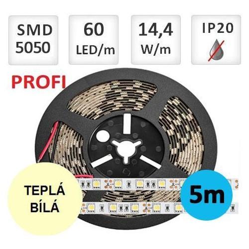 LED pásek PROFI  5m 14,4W/m 60ks/m 5050 TEPLÁ BÍLÁ