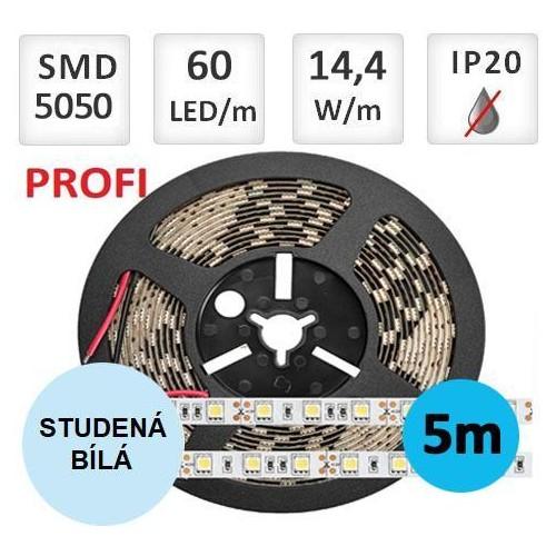 LED pásek PROFI 5m 14,4W/m 60ks/m 5050 STUDENÁ BÍLÁ