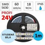 LED pásek 24V PROFI  5m 18W/m 60ks/m 5630 voděodolný STUDENÁ BÍLÁ