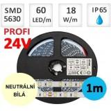 LED pásek 24V PROFI 5m 18W/m 60ks/m 5630 voděodolný NEUTRÁLNÍ BÍLÁ