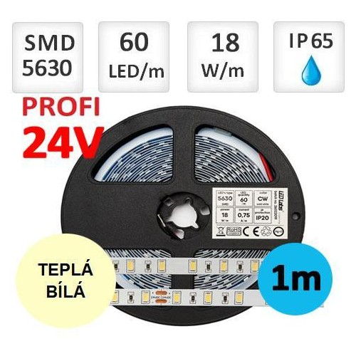 LED pásek 24V PROFI 5m 18W/m 60ks/m 5630 TEPLÁ BÍLÁ