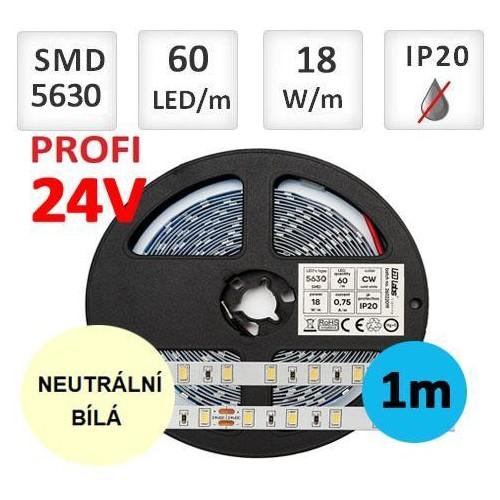 LED pásek 24V PROFI 5m 18W/m 60ks/m 5630 NEUTRÁLNÍ BÍLÁ