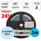 LED pásek 24V PROFI 5m 18W/m 60ks/m 5630 STUDENÁ BÍLÁ
