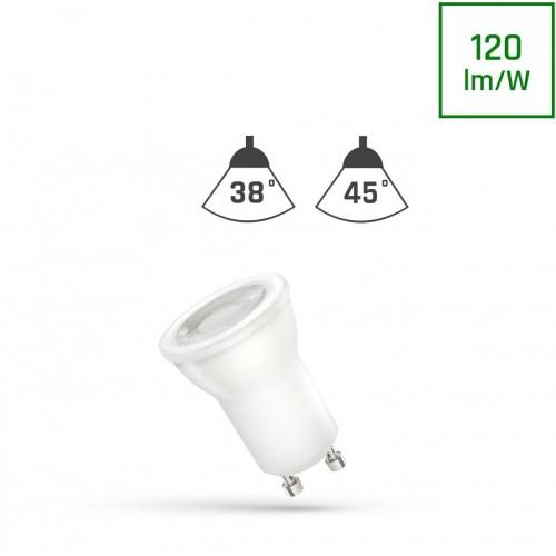 LED MR11 GU10 230V 2W SMD 45ST Studená bílá s čočkou SPECTRUM