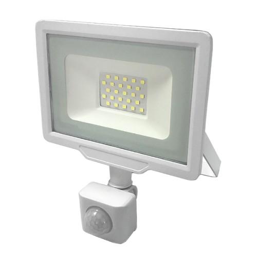 LED reflektor CITY LINE bílý 30W SMD2835 PIR 2400lm SLIM STUDENÁ