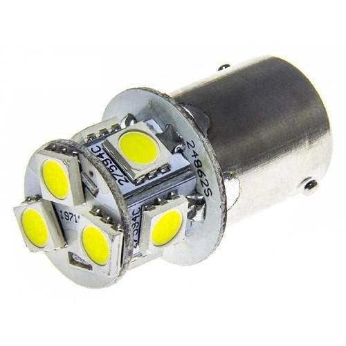 LED auto žárovka LED BA15S 10-30V 8 SMD 5050 Studená bílá
