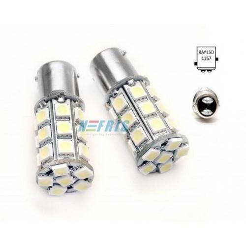 LED auto žárovka 24V BA15S 27 SMD 5050 Dvouvláknová Teplá bílá