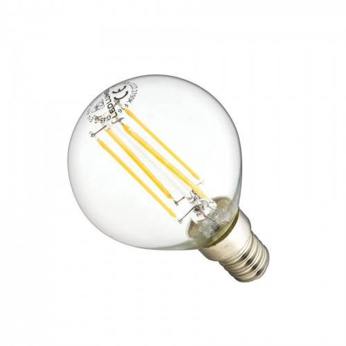 LED žárovka 4W Globe 4xCOS Filament E14 470lm CCD TEPLÁ BÍLÁ