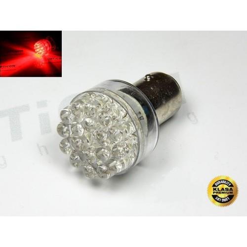 LED auto žárovka 24V LED P21/5W 24xDIP Bay15d dvouvláknová ČERVENÁ