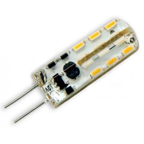 LED žárovka 2W 24xSMD3014 G4 220lm CCD TEPLÁ silikon 12V DC