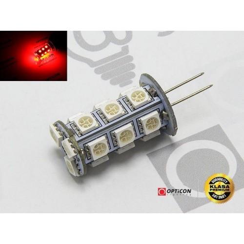 LED žárovka 1W 18xSMD5050 G4 90lm 12V DC ČERVENÁ