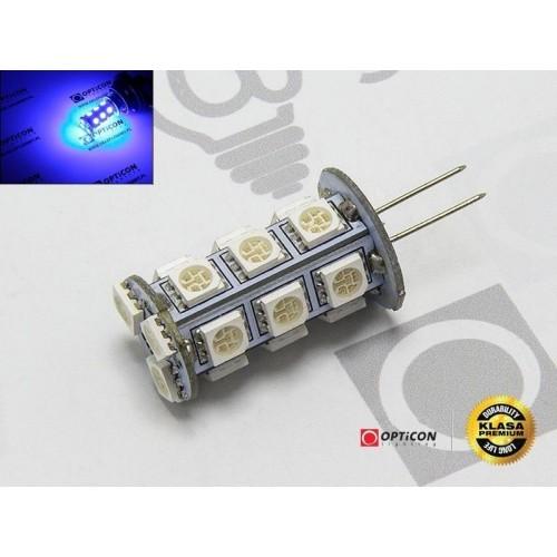 LED žárovka 1W 18xSMD5050 G4 90lm 12V DC MODRÁ