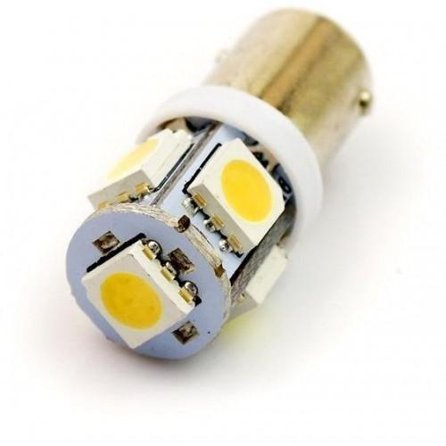 LED auto žárovka 12V LED BA9S  H6W 5SMD5050 1W TEPLÁ
