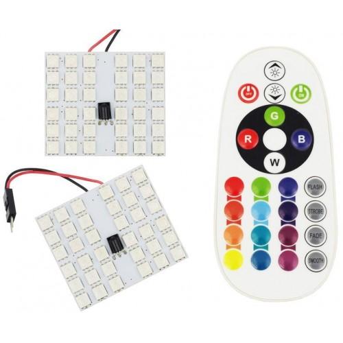 Panel LED RGB 36-chip 2x18 + adaptéry C5W a W5W s IR ovladačem