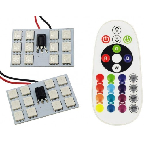 Panel LED RGB 12-chip 2x6 + adaptéry C5W a W5W s IR ovladačem