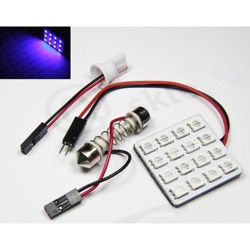 Panel LED 24V 16xSMD 5050 4x4 + adaptéry C5W a T10 MODRÁ