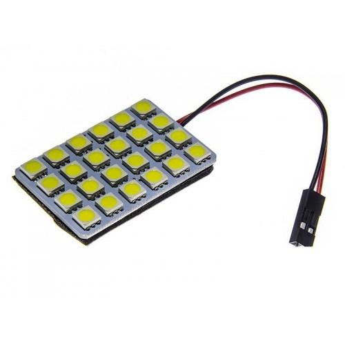Panel LED 24V 24xSMD 5050 6x4 + adaptéry C5W a T10 TEPLÁ BÍLÁ