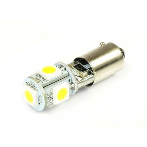 LED auto žárovka 12V LED BA9S H6W 5SMD5050 CAN BUS 1W TEPLÁ