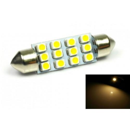 LED auto žárovka LED C5W 12 SMD 1210 42mm TEPLÁ