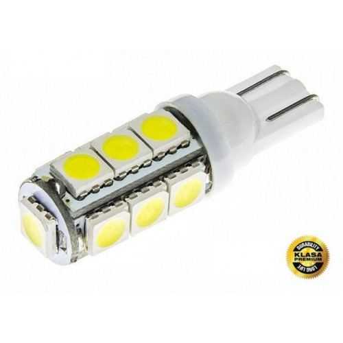 LED auto žárovka 24V LED T10 13 SMD 5050 TEPLÁ