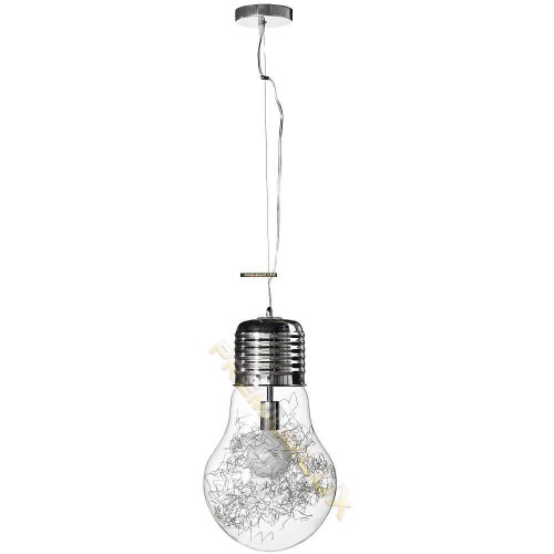 Stropní závěsné svítidlo CLOTILDE 300x1500mm 1xE27 transparentní sklo, kov