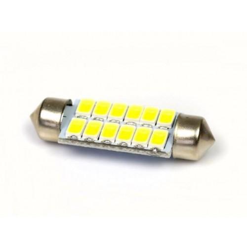 LED auto žárovka 12V LED C5W 12SMD5630 39mm studená bílá