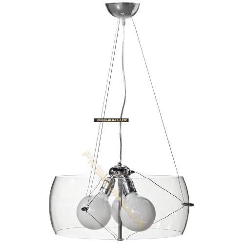 Stropní závěsné svítidlo LIDIA  500x1500mm 3xE27  transparentní sklo, kov