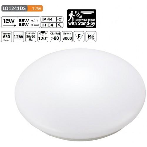 LED svítidlo SPHERE 12W s mikrovlným čidlem 48xSMD2835 960lm, plafon, Teplá bílá