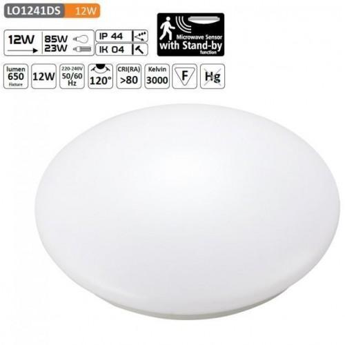 LED svítidlo SPHERE 12W s mikrovlným čidlem 48xSMD2835 960lm, plafon, Neutrální bílá