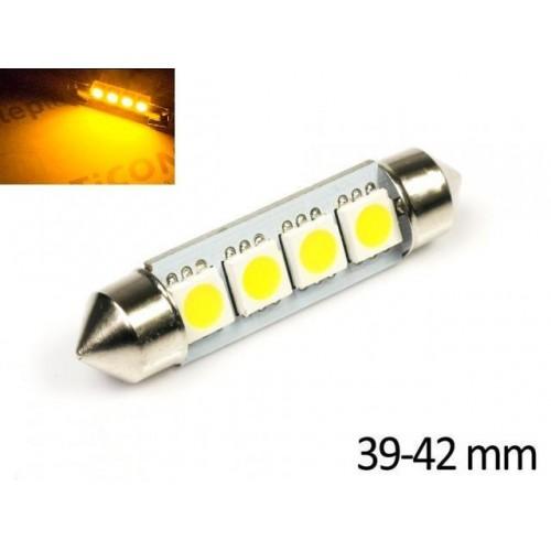 LED auto žárovka 24V LED C5W 4 SMD 5050 ORANŽOVÁ 42mm