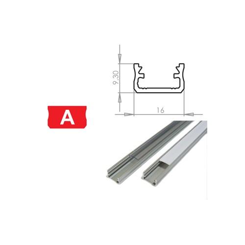 Hliníkový profil LUMINES A 2m pro LED pásky, stříbrný eloxovaný