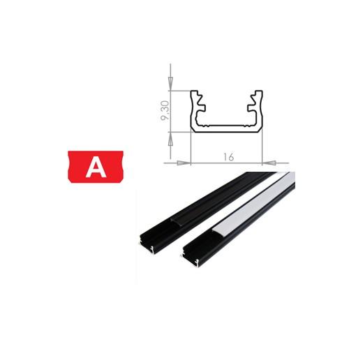 Hliníkový profil LUMINES A 2m pro LED pásky, černý