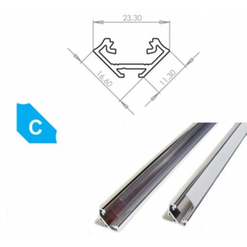 Hliníkový profil LUMINES C 3m pro LED pásky, hliník