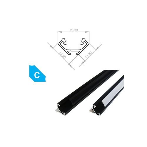 Hliníkový profil LUMINES C 2m pro LED pásky, eloxovaný černý