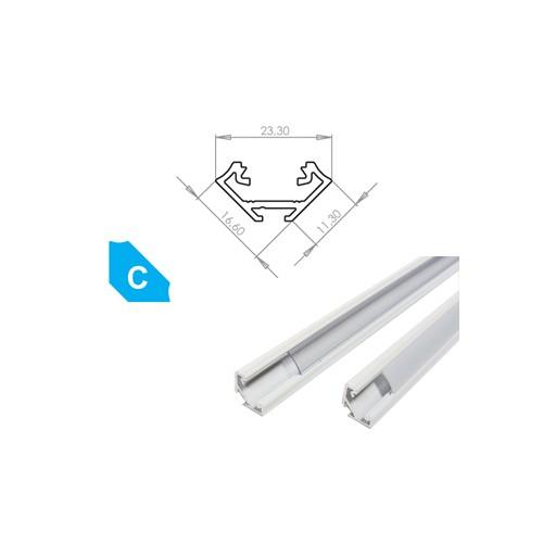 Hliníkový profil LUMINES C 3m pro LED pásky, lakovaný bílý